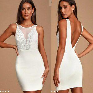 Lulu's White Lace Bodycon Dress Large